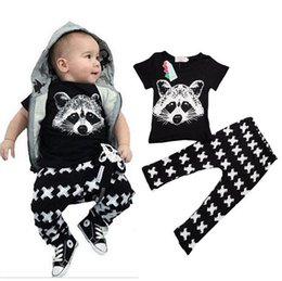 Wholesale Leggings Cross Girls - INS Children Clothes Sets Boys Girl Fashion Pure Cotton Fox Head T-shirt Tops + Pants Cross Leggings 2 piece Outfits KB317