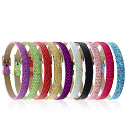 Wholesale 8mm Slide Charms Numbers - Wholesale 8mm wide 22cm length 100pcs lot Shiny PU Leather Wristband Bracelet Fit For DIY Accessories Slide Letters