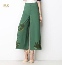 Wholesale Wide Linen Pants - New fashion plus size wide leg pants for women black green red painted capris summer spring autumn wide leg pants OL trousers female sdd0601