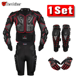 Wholesale Protective Jackets - Herobiker Red Motorcross Racing Motorcycle Body Armor Protective Jacket +Gears Short Pants +Protective Motorcycle Knee Pad +Gloves