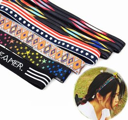 Wholesale Elastic Running Belt - Sports belt with national wind embroidery printing head with elastic running fitness with hair belt wholesale free shipping