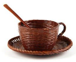 Tazze di caffè giapponesi online-tazze di caffè di bambù tessute a mano di disegno di modo ECO tazze di caffè di retro stile giapponesi amichevoli tazze di tè romantiche a tre pezzi della tazza creativa