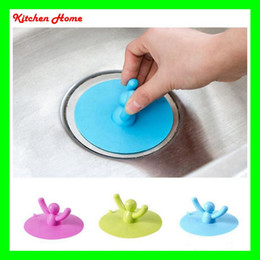 Wholesale Bathroom Sink Stoppers - Creative Cartoon Silicone Kitchen Sink Strainer Filter Bathroom gully drain Kitchen Sink Drain Cover Anti-sliding Stopper