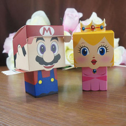 Wholesale Mario Wedding - 6*6*10.5cm Wedding Candy Bags Lots Paper Creative Cute Super Mario Easy Folding Free Shiping Wedding Supplies