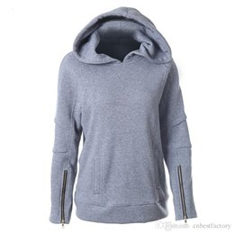 Wholesale Lady Brand Cotton Sweatshirts - 2016 Fashion Women's Clothes Winter Ski Warm Fleece Hoodies Sweatshirts Ladies Grey Windproof Brand Hooded Sweatshirt Crop Tops S-XXL W