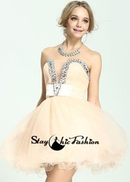 Wholesale Short Dress Jeweled - Champagne Short Jeweled Sweetheart Prom Homecoming Dresses 2016 Juniors Strapless Ruched Top A Line Neckline US0
