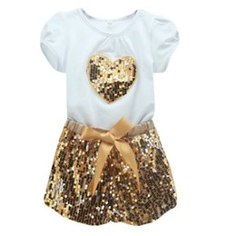 Wholesale Sequins Outfit - Hot Selling 2PCS Baby Kids Girls Set Short Sleeve T-shirt + Sequins Shorts Pants Summer Outfits Sets Free Shipping