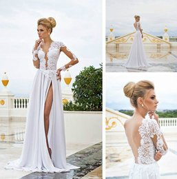 Wholesale Sexy Size 18 Dresses - Lace Long Sleeve Deep V Neck Sexy Backless A-Line White Ivory Wedding Dress Bridal Gown Custom Size 2 4 6 8 10 12 14 16 18 20 22 24 26 28