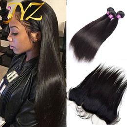 Wholesale Remy Weft Human Hair - 3Pcs Peruvian Virgin Hair Straight With Lace Frontal 4Pcs Lot Straight Virgin Hair Lace Frontal Closure With Bundles 100% Human Hair