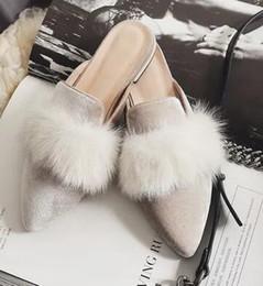Wholesale Half Hard - 2017 European fashion Rex mopsycotton pointed shoes scoop half dragged shallow mouth shoe Doug women shoe loafer free shipping