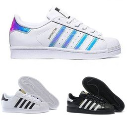 Wholesale Fabric Buttons - 2018 Originals Superstar White Hologram Iridescent Junior Superstars 80s Pride Sneakers Super Star Women Men Sport Casual Shoes EUR 36-45