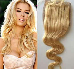Wholesale Silk Bleach Knot Closure - Brazilian Blonde Body Wave Silk Base Closure Middle Part Bleached Knots With Baby Hair Free Part Human Virgin Hair Swiss 613 Closures
