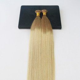 Wholesale I Tip Double Drawn - Double Drawn Omber #12 Fading to #613 Blonde I-Tip Prebonded Human Hair Extensions Slik Straight 100% Remy Nail Keratin Hair Extensions