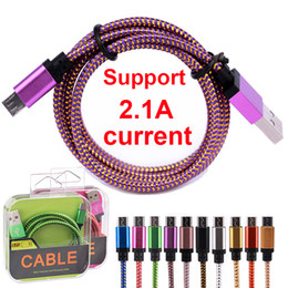 Wholesale Purple Head Phones - With Retail Box 1M 3FT Micro USB Metal Head Braided Data Charger Cable Fabric Knit Charging Cord Color Changing For Android Phone 5 6