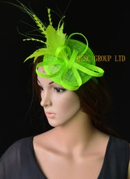 Wholesale Mini Sinamay Hat - Neon green bridal Fascinator Feather fascinator sinamay mini hat kentucky derby hat wedding hat.