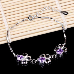 Wholesale Traditional Wedding Jewelry - Love is still authentic Korean jewelry happiness Clover Amethyst 925 sterling silver bracelets wholesale trade