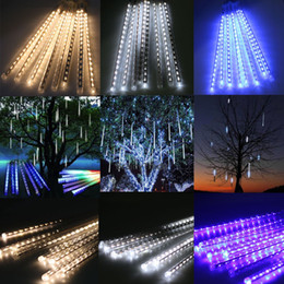 Wholesale Christmas Tree Decoration Lights - 20CM 30CM 50CM Meteor Shower Rain Tubes LED Mini Meteor Lights LED Strings Light 8pcs LED Light For Christmas Wedding Garden Decoration