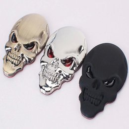 Wholesale Car Motorcycle Decals Sticker - Skull Ghost 3D Car Sticker Decal Emblem Badge Motorcycle Tail Stickers Car Styling black silver gold glossy matt Auto Decoration Accessory