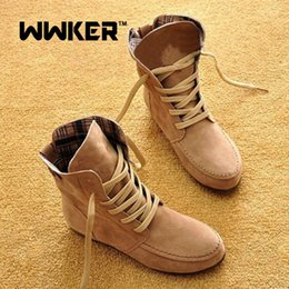 Wholesale Summer Fashions Wedges - Women shoes Plus size summer boots leather suede flats fashion breathable women boots lace up cotton boots Plus size 35-43 F0196