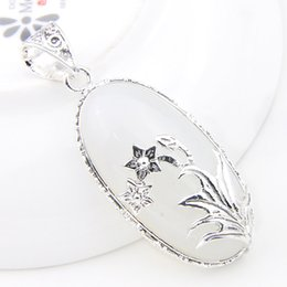 Wholesale Necklace Moonstone - 10 Pcs 1 lot LuckyShine Antique Flower Fire Oval White Moonstone Gems Crystal 925 Sterling Silver Wedding Pendants Russia American Australia
