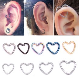 Wholesale Tragus Ear Rings - 3Pcs Heart Star Shaped Tragus Piercing Hoop Rings Helix Cartilage Tragus Daith Ear Studs Lip Nose Rings Piercing