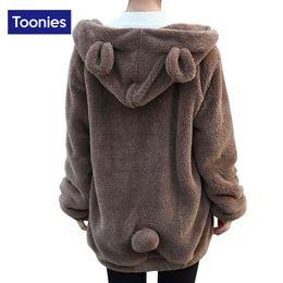 Wholesale Korean Sweatshirts For Women - Wholesale- New 2017 Spring Svitshot Korean Kawaii Bear Hooded Sweatshirt Fleece Wool Coat Tracksuit for Women Warm Zip-up Hoody Coat Female