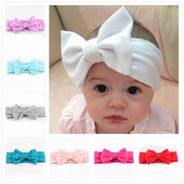 Wholesale Knitting Accessories Wholesale - 12 Colors 2016 New Children Knitting Bow Tie Bandanas Girl Baby Cotton Headbands Hair Accessories Free Shipping