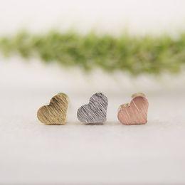 Wholesale Simple Heart Earrings - Wholesale-1 PCS-S017 New Fashion Tiny cute Gold Silver Little Heart stud Earrings for women girls gifts simple cute party ear studs