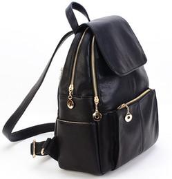 Wholesale Korea Style Fashion Girls Backpack - Wholesale- New Korea fashion genuine leather bag women backpack leather school backpack female women travel backpack for girl Free shipping