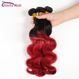 Wholesale Cheap Red Human Hair Extensions - Ombre 1b Red Body Wave Hair Weaves 3pcs Two Tone Red Brazillian Virgin Human Hair Extensions Cheap Wavy Dark Root Red Ombre Bundles