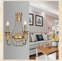 Wholesale wrought iron glass light - Nordic K9 Crystal Wrought Iron Wall Lamps Creative Simple Art Deco Wall Lamp Bedroom Bedside Light 2 Lights