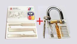 Wholesale Mini Padlocks - 2016 New Locksmith Tools Conbination Transparent Padlock+5pcs Mini Lock Picks Set In Credit Card Door Keys Pick Free Shipping