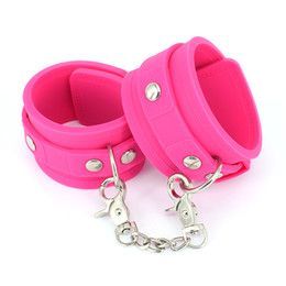 Wholesale Pink Hand Cuffs - Pink Silicone Handcuffs Shackles Fetish Bondage Restraints Wrist Hand Cuffs Sex Toys for Couples BDSM Adult Games Sex Products