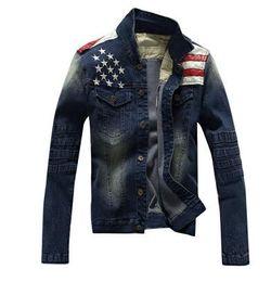 Wholesale Leather Jean Jacket Xl - Big size M-3XL 2016 Autumn new men jeans leather jacket Men coat Leisure and fashion Jean jacket