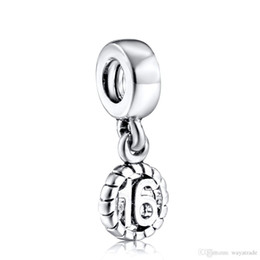Wholesale Letter Beads Pendants - New89 New! 16th Birthday Pendant Charm 925 Silver European Bead Compatible With Snake Chain Bracelets Fashion DIY Jewelry