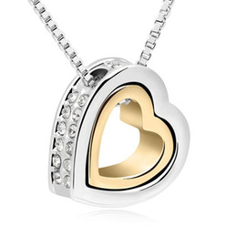 Wholesale Double Heart Alloy Crystal Necklace - Women High Quality Double Heart Necklace Fashion Accessories Austrian Crystal Pendant Necklace Designer Evening Party Jewelry 12683