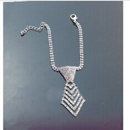 Wholesale Dog Tags For Jewelry - wholesales!specialized luxury sparkling high quality crystal necktie necklace fashion jewelry for dogs cat pet collar,10pcs lot,white color