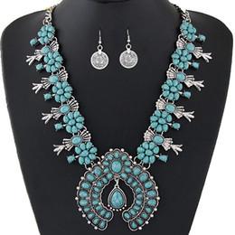 Ensemble de bijoux turquoise perles en Ligne-Ensembles de bijoux de Bohême pour les femmes Vintage perles africaines ensemble de bijoux pièce turquoise déclaration collier boucles d'oreilles ensemble bijoux de mode