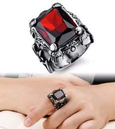 Wholesale Ruby Boy - 2016 Titanium steel men's Ring with Ruby red AAA zircon Domineering Punk rings Fashion Gift for a Boy Charm New Jewelry factory direct Free