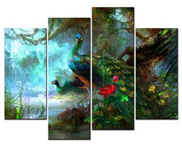 Wholesale Lotus Painting Wall Panels - Animal Paintings Wall Art two Peacocks Near a Pool with Red Lotus in the Forest 4 Panel Picture Print on Canvas for Modern Home Decoration