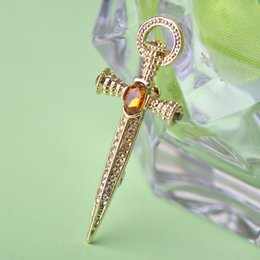 Wholesale Gold Rhinestone Embellishment - Wholesale- 2017 Fashion Vintage Sword Brooches Pin Antique Gold Color Rhinestone Crystal Women Broche Embellishment Broach Pin Accessories