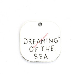 Wholesale Dream Pendant - 20pcs Antique Silver Plated Dream of Sea Charms Pendants for Bracelet Jewelry Making DIY Necklace Craft 19x19mm