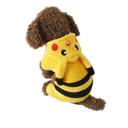 Wholesale Yellow Dog Coat - New 2016 Cute Cartoon Pikachu Design Pet Costume Clothing Cat Dog Clothes Puppy Hoodie Winter Coat for Dogs WA0742