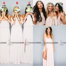 Wholesale Making Hand Cream - Chic Elegant Chiffon Split Boho Beach Mumu Bridesmaid Dresses in Cream 2016 Custom Make Full length Cheap Maid Of Honor Dress