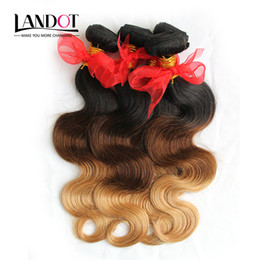Wholesale Ombre Wavy Tone - 3Pcs Lot 8-30Inch Three Toned Ombre Russian Human Hair Extensions Body Wave Wavy 1B-4-27 Black Brown Blonde Ombre Virgin Hair Weave Bundles