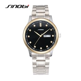 Wholesale Sinobi Male Watch - SINOBI Men's Fashion Watches for Luxury Brand Steel Watchband Calendar Males Waterproof Quartz Clock Montre Homme Marque de Luxe