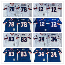 Wholesale Kelly Smith - Retired Player 12 Jim Kelly 34 Thurman Thomas Jerseys Vintage 78 Bruce Smith 83 Andre Reed Jersey Blue White Throwback men's Stitched Jersey