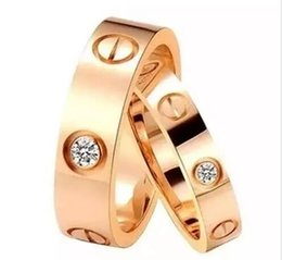 Wholesale Heart Ring 18k Rose Gold - 2017 New Arrival top quality forever love stainless steel Rose Gold Silver Gold couples Screw Ring for men and women
