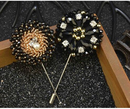 Wholesale Sew Beads Wedding - Fashion 8.5*4cm High Quality Sewing Beads Mens Suits Luxury Long Brooch Pins Men's Accessories Fashion Flower Jewelry Brooches Decorations
