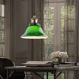 Wholesale Cafe Tables Living Room - American Country Vintage Loft Lamp Creative Cafe Bar Table Green Pendant Lamp Restaurant Bedroom Retro Pendant Lights